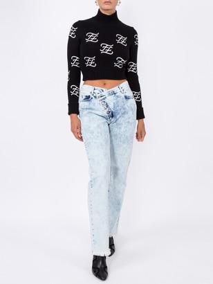 Fendi Ff Karligraphy Knitted Jumper Black