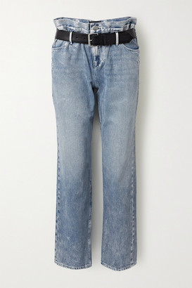 RtA Dexter Belted Distressed Metallic High-rise Straight-leg Jeans - Light blue
