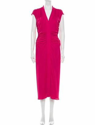 Narciso Rodriguez V-Neck Long Dress Pink