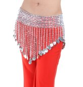 Dance Fairy Belly Dance Triangle Skirt Hip Scarf With Coins