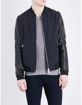 The Kooples Leather-sleeved Cotton-blend Bomber Jacket