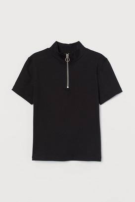 H&M Ribbed half-zip top