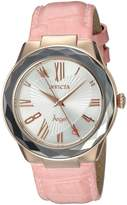 Invicta Women's 'Angel' Quartz Stainless Steel and Leather Casual Watch, Pink (Model: 22538)