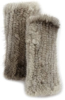 La Fiorentina Fingerless Mink Fur Gloves, Gray