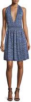 M Missoni Halter-Neck Space-Dye Dress, Violet