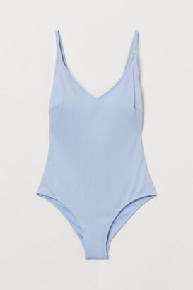 H&M V-neck Swimsuit - Blue