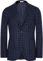 Boglioli Blue K-Jacket Slim-Fit Checked Wool Blazer