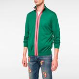 Paul Smith Men's Green And Pink Merino-Silk Blend Zip-Through Top