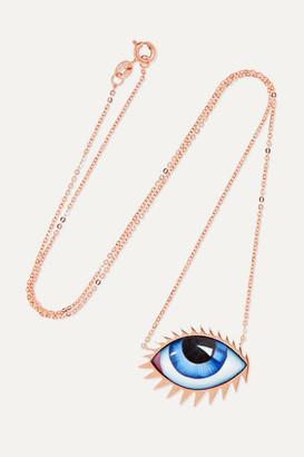 Lito Zeusdione Tu Es Partout 14-karat Rose Gold Enamel Necklace