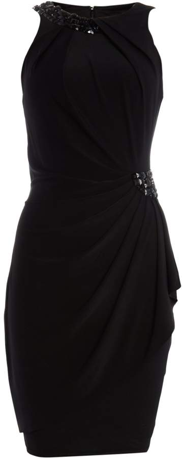JS Collections Jersey dress with beaded halter neck