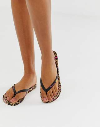 Ipanema animal print flip flops-Black
