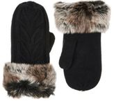 Barneys New York WOMEN'S FAUX-FUR-CUFF CABLE-KNIT MITTENS-BLACK SIZE NA