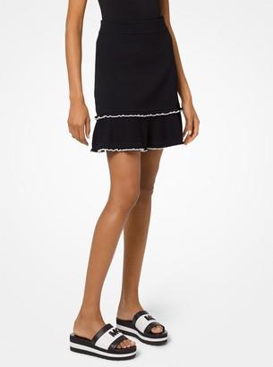 MICHAEL Michael Kors Stretch-Viscose Flounce Skirt