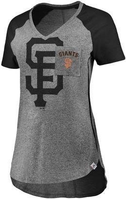 Majestic Women's Gray/Black San Francisco Giants Static Pocket Raglan V-Neck T-Shirt