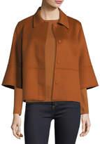 Neiman Marcus Luxury Kimono-Sleeve Double-Face Cashmere Cropped Jacket
