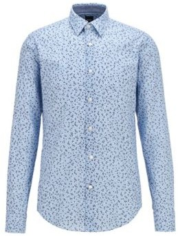 HUGO BOSS Slim Fit Shirt In Washed Cotton Muslin With Exclusive Print - Dark Blue