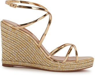Aquazzura Gin 100 Leather Espadrille Wedge Sandals
