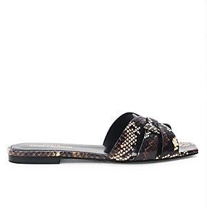 Saint Laurent Women's Tribute Snakeskin Slides Sandals