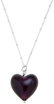 Murano Martick Glass Heart Pendant Necklace