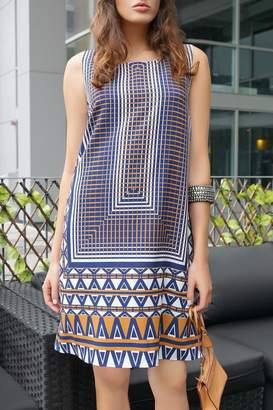 Carre Noir Retro Print Shift Dress