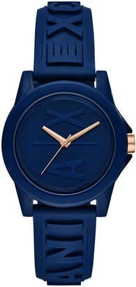Armani Exchange Women Lady Bank Blue Silicone Strap Watch 40mm