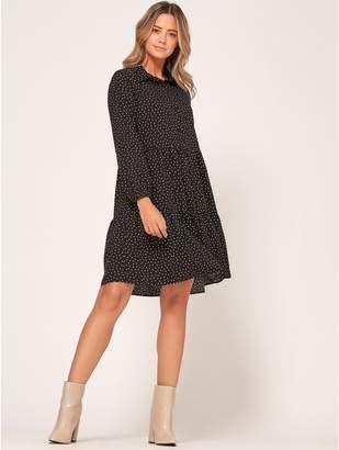 M&Co Petite spot tiered shirt dress