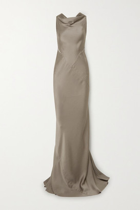 Rick Owens Skorpio Draped Cutout Open-back Hammered-satin Gown - Gray green