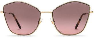 Miu Miu La Mondaine Oversized Sunglasses in Pale Gold & Pink Gradient Grey | FWRD