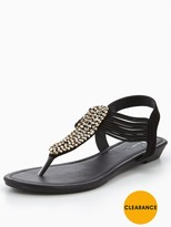 Very Libra Embellished Low Wedge Toe Post Sandal - Black