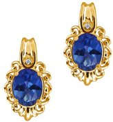 Gem Stone King 3.22 Ct Oval Royal Blue Mystic Topaz and Diamond 18k Yellow Gold Earrings