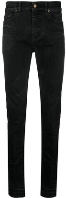 Saint Laurent Coated-Finish Skinny Jeans