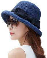 Siggi Floppy Summer Sun Beach Straw Hats for Women SPF Crushable Bucket Cloche Hat 56-59cm Navy