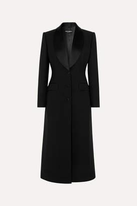 Dolce & Gabbana Satin-trimmed Wool-blend Coat - Black