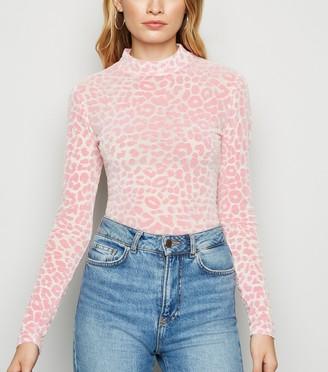 New Look Leopard Print Flocked Mesh Top