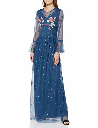 Frock and Frill Women's Jennifer Embellished Dot Mesh Maxi Dress Party