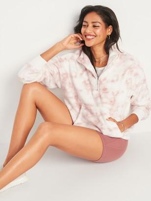 Old Navy Cozy Faux-Fur Half-Zip Cinch-Hem Sweatshirt for Women