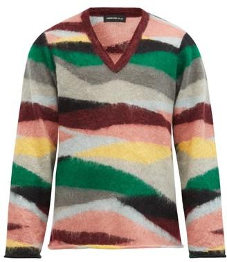 Undercover V-neck Stripe-jacquard Mohair Sweater - Multi