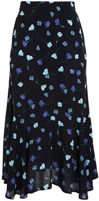 Markus Lupfer Fluted Floral-print Crepe Midi Skirt
