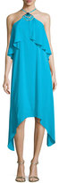 Trina Turk Botanical 2 Silk Crepe de Chine Midi Dress, Skinny Dip