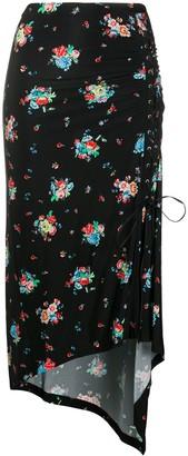 Paco Rabanne Floral-Print Draped Skirt