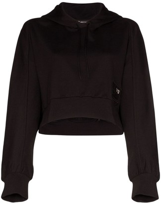 Y-3 Cropped Logo-Patch Hoodie