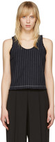 Alexander Wang Navy Cropped Cotton Burlap Tank Top