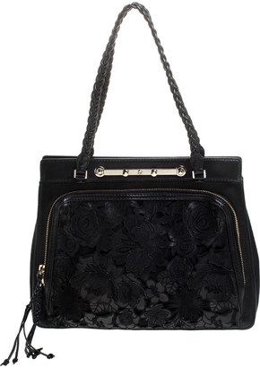 Valentino Black Leather and Lace Demetra Tote
