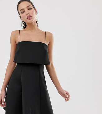 Asos Tall DESIGN Tall crop top skater mini dress-Black