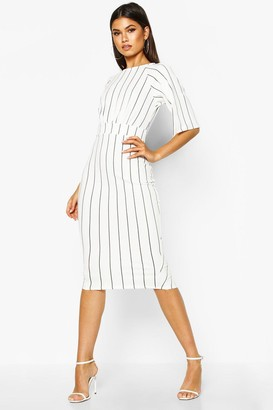 boohoo Stripe Split Sleeve Wiggle Midi Dress