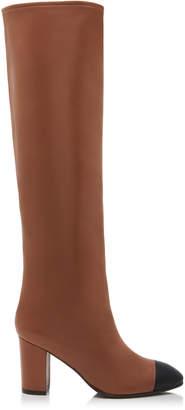 Stuart Weitzman Kimberly Leather Cap-Toe Knee Boots