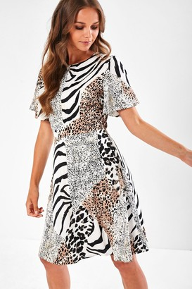 Iclothing Coco Short Dress in Mixed Animal Print