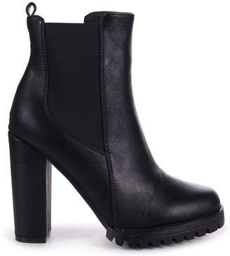 Linzi ATTRACTION - Black Nappa Round Toe Heeled Ankle Boot With Block Heel Cleated Sole