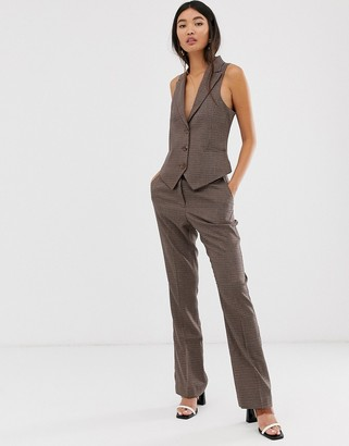 ASOS DESIGN check slim straight suit pants