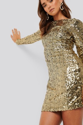 NA-KD Sequin Long Sleeve Dress Gold